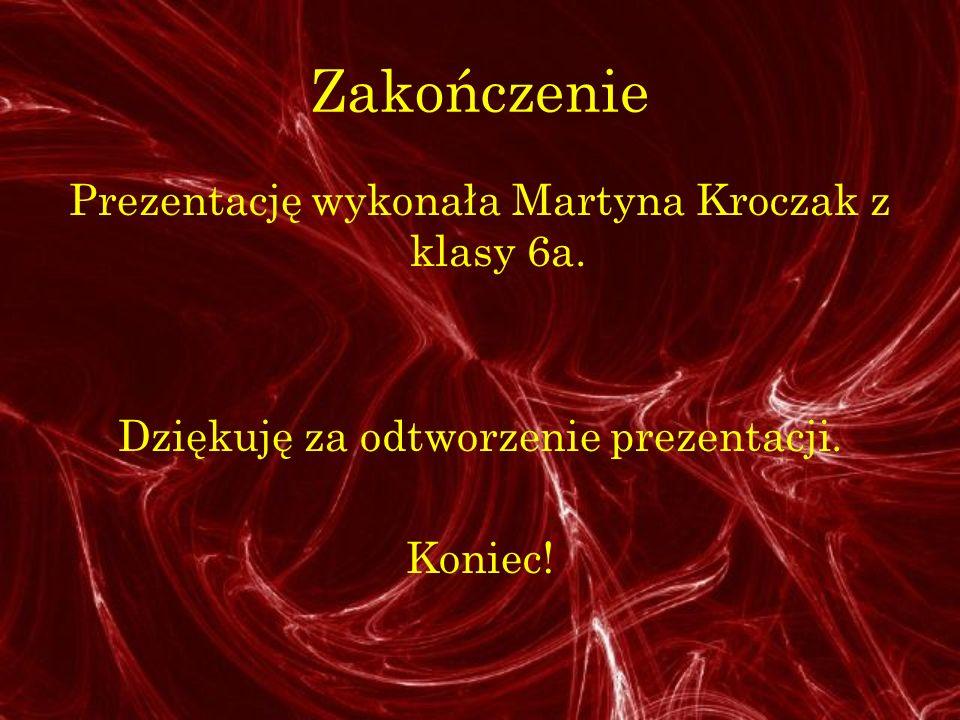 Zakończenie Prezentację wykonała Martyna Kroczak z klasy 6a.