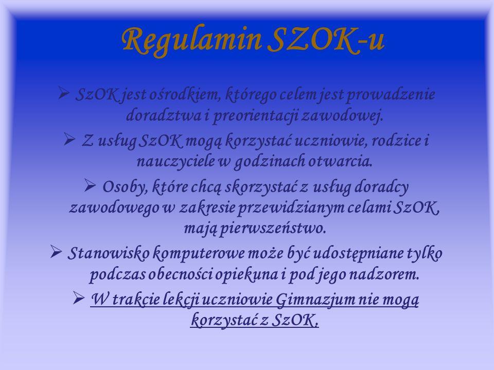 W trakcie lekcji uczniowie Gimnazjum nie mogą korzystać z SzOK.