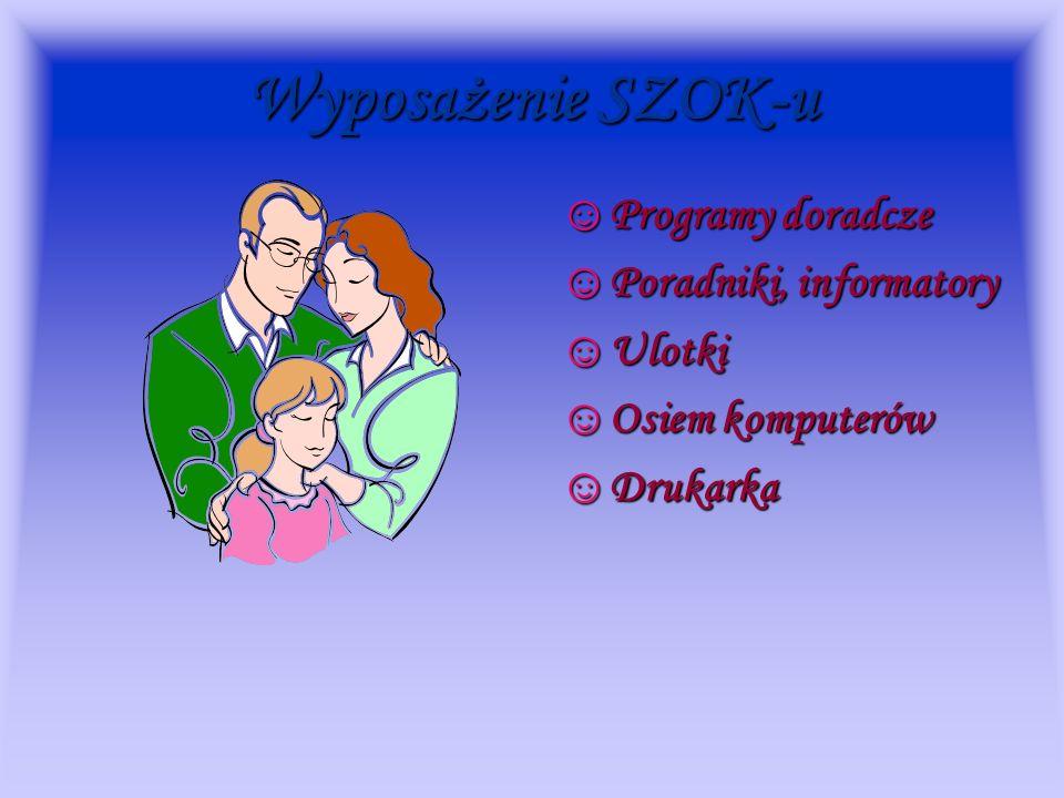 Wyposażenie SZOK-u Programy doradcze Poradniki, informatory Ulotki