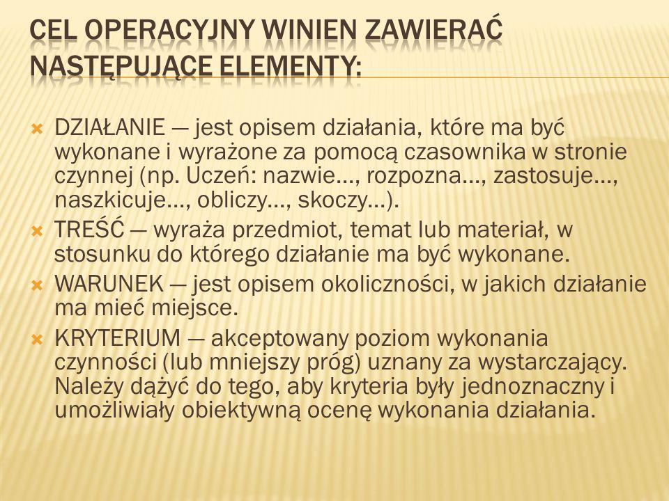 Cel operacyjny winien zawierać następujące elementy:
