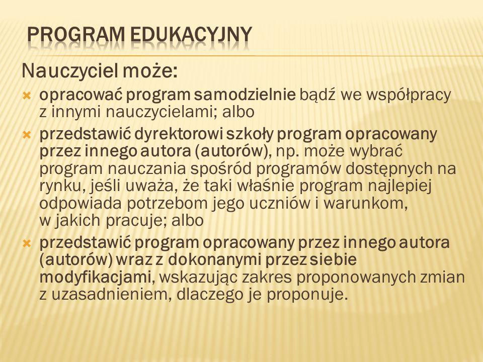 Program Edukacyjny Nauczyciel może: