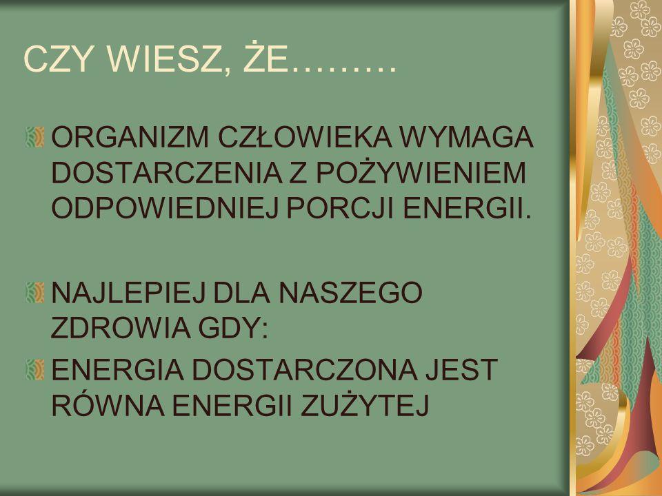 CZY WIESZ, ŻE……… ORGANIZM CZŁOWIEKA WYMAGA DOSTARCZENIA Z POŻYWIENIEM ODPOWIEDNIEJ PORCJI ENERGII. NAJLEPIEJ DLA NASZEGO ZDROWIA GDY: