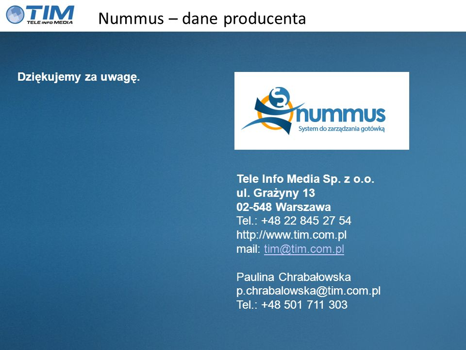 Nummus – dane producenta