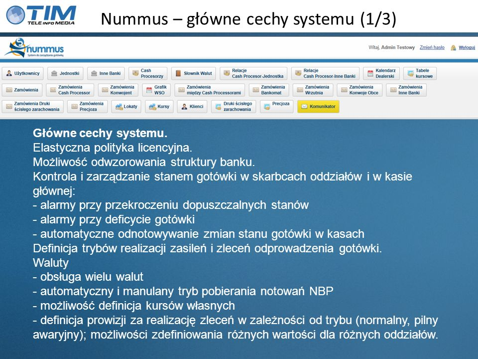 Nummus – główne cechy systemu (1/3)