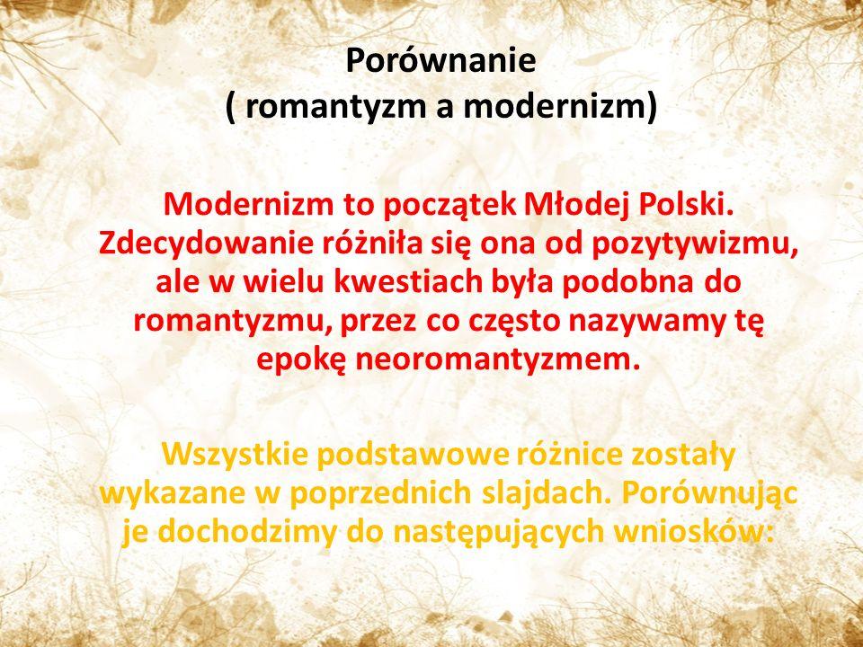 ( romantyzm a modernizm)