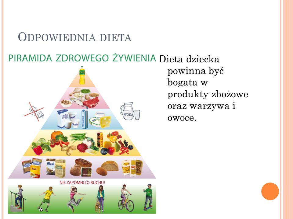 Odpowiednia dieta Dieta dziecka powinna być bogata w produkty zbożowe oraz warzywa i owoce.