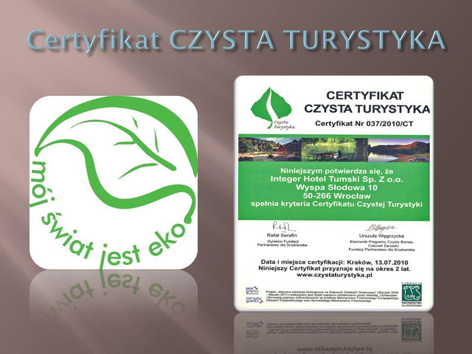 Certyfikat CZYSTA TURYSTYKA