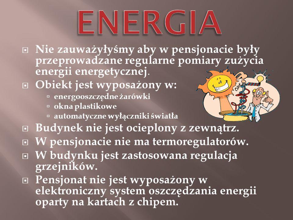 ENERGIA Nie zauważyłyśmy aby w pensjonacie były przeprowadzane regularne pomiary zużycia energii energetycznej.