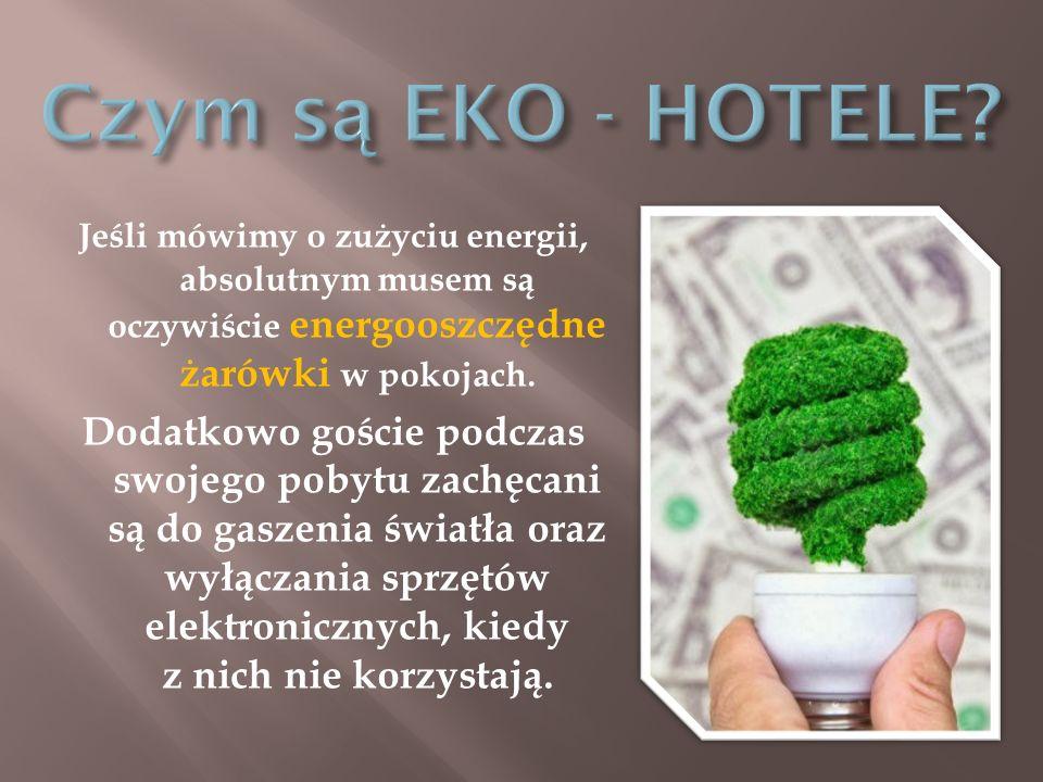 Czym są EKO - HOTELE Jeśli mówimy o zużyciu energii, absolutnym musem są oczywiście energooszczędne żarówki w pokojach.