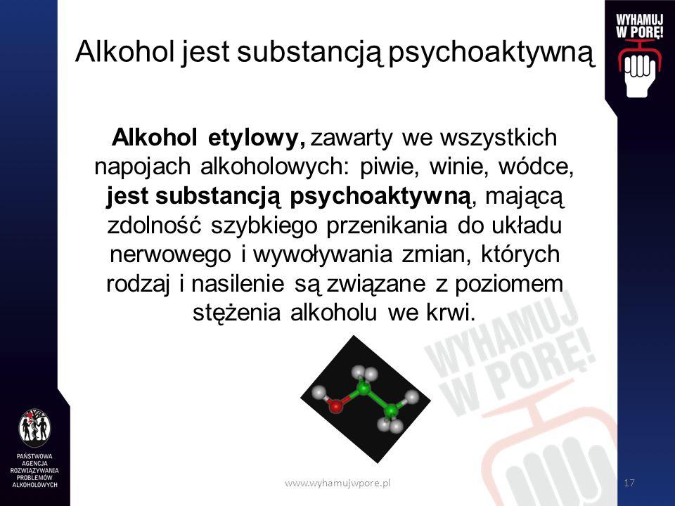 Alkohol jest substancją psychoaktywną