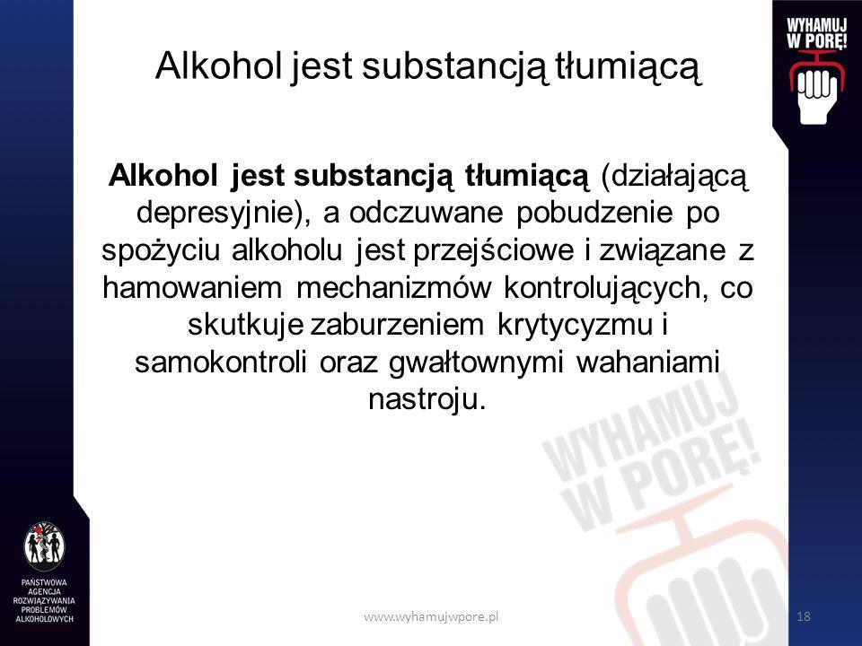 Alkohol jest substancją tłumiącą