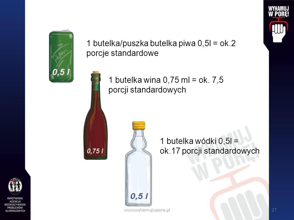 1 butelka wódki 0,5l = ok.17 porcji standardowych