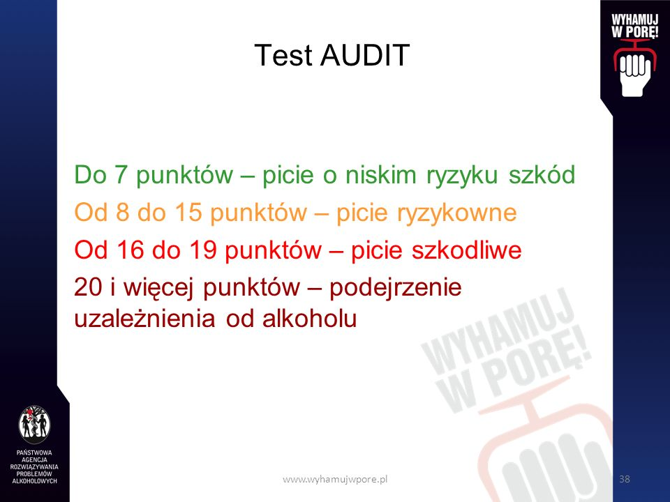 Test AUDIT Do 7 punktów – picie o niskim ryzyku szkód