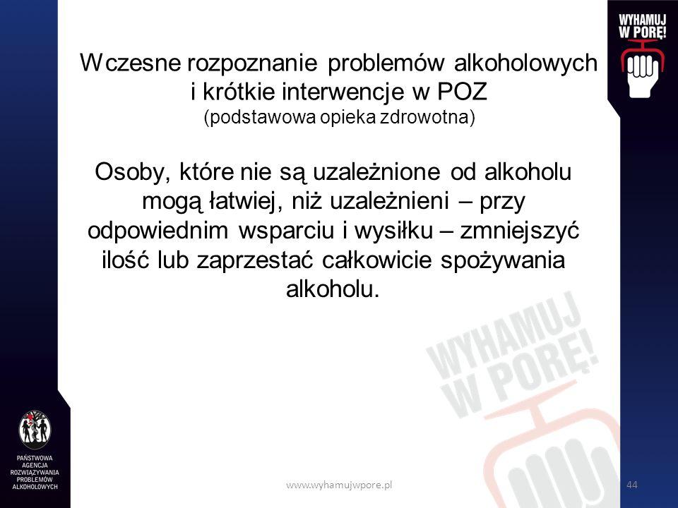 Wczesne rozpoznanie problemów alkoholowych i krótkie interwencje w POZ (podstawowa opieka zdrowotna)