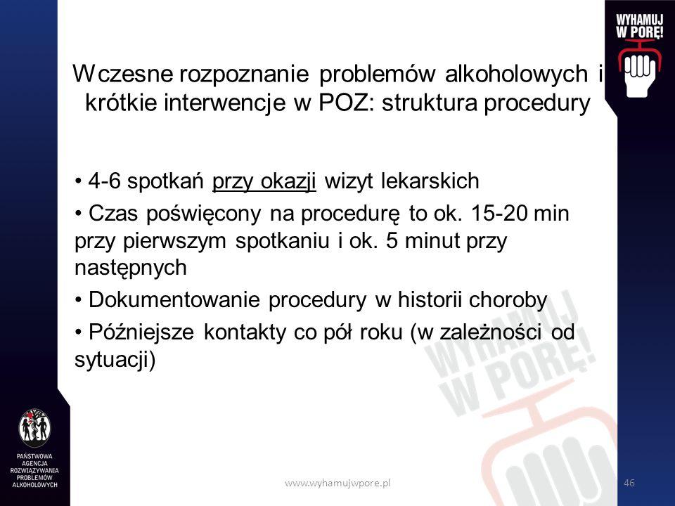 Wczesne rozpoznanie problemów alkoholowych i krótkie interwencje w POZ: struktura procedury