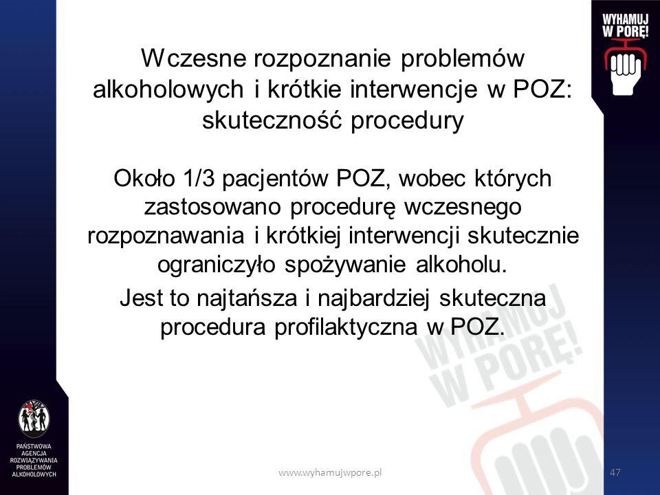 Wczesne rozpoznanie problemów alkoholowych i krótkie interwencje w POZ: skuteczność procedury