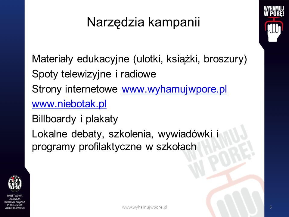 Narzędzia kampanii Materiały edukacyjne (ulotki, książki, broszury)