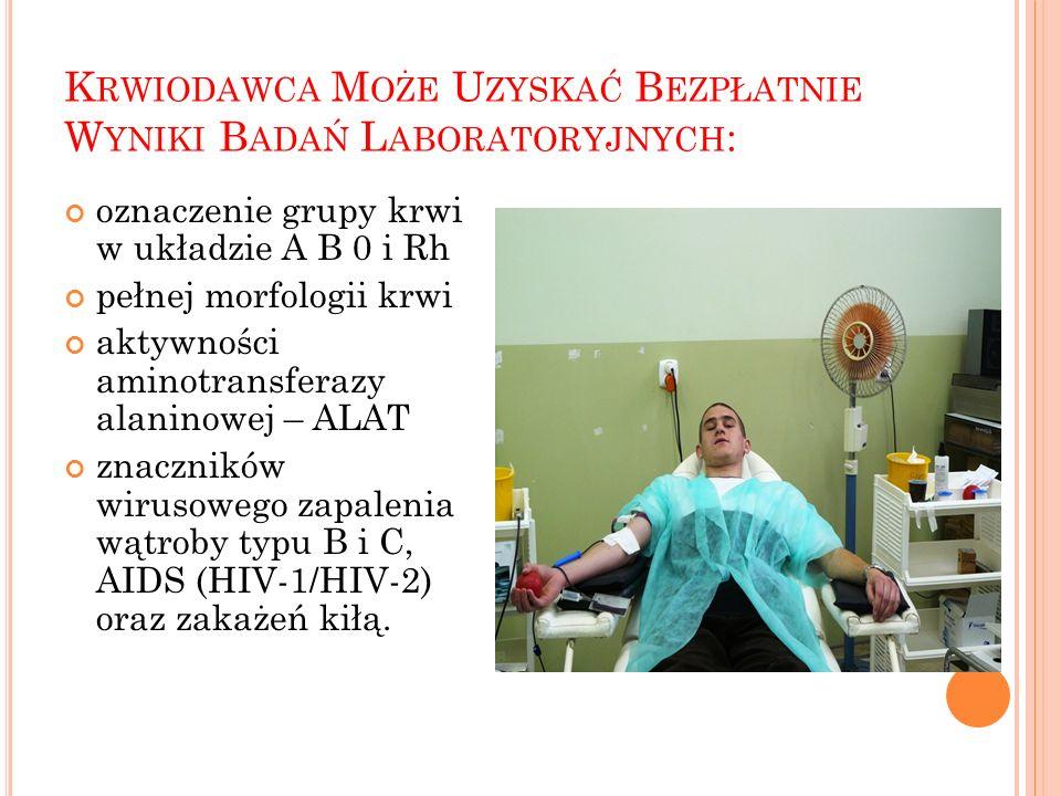Krwiodawca Może Uzyskać Bezpłatnie Wyniki Badań Laboratoryjnych: