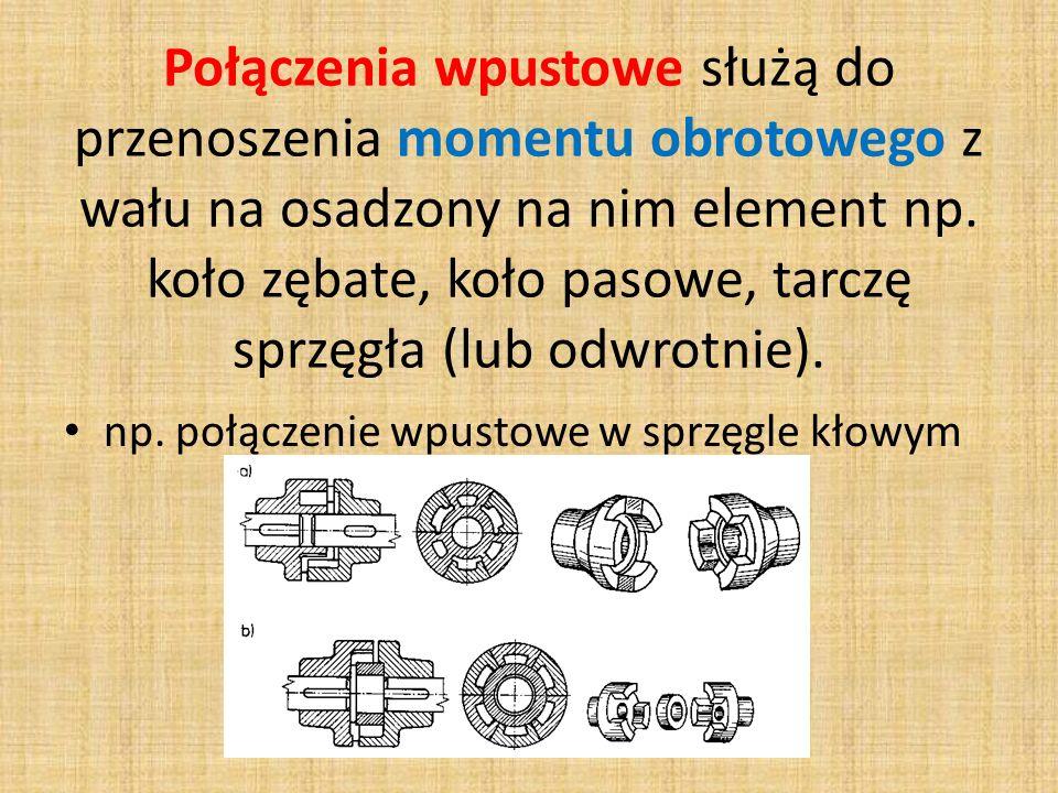 Połączenia wpustowe służą do przenoszenia momentu obrotowego z wału na osadzony na nim element np. koło zębate, koło pasowe, tarczę sprzęgła (lub odwrotnie).