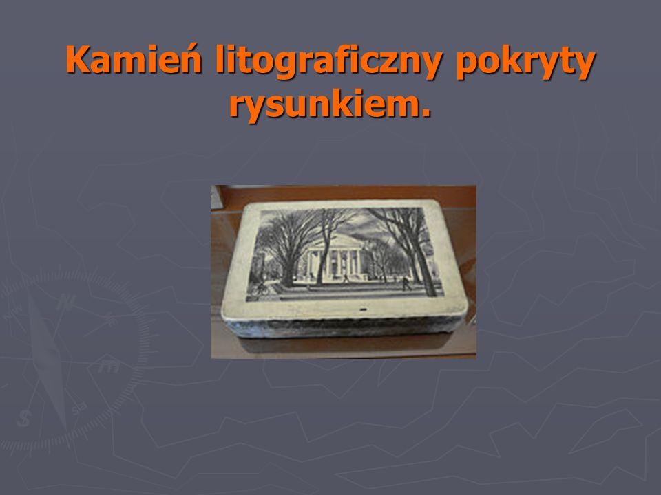 Kamień litograficzny pokryty rysunkiem.