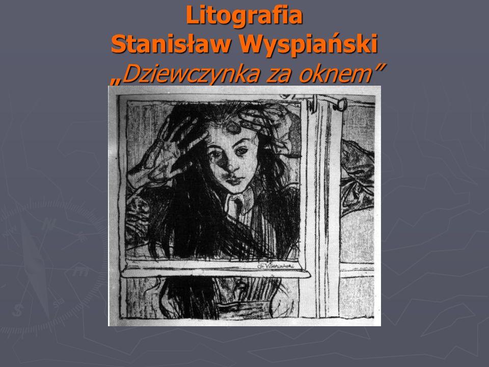 """Litografia Stanisław Wyspiański """"Dziewczynka za oknem"""