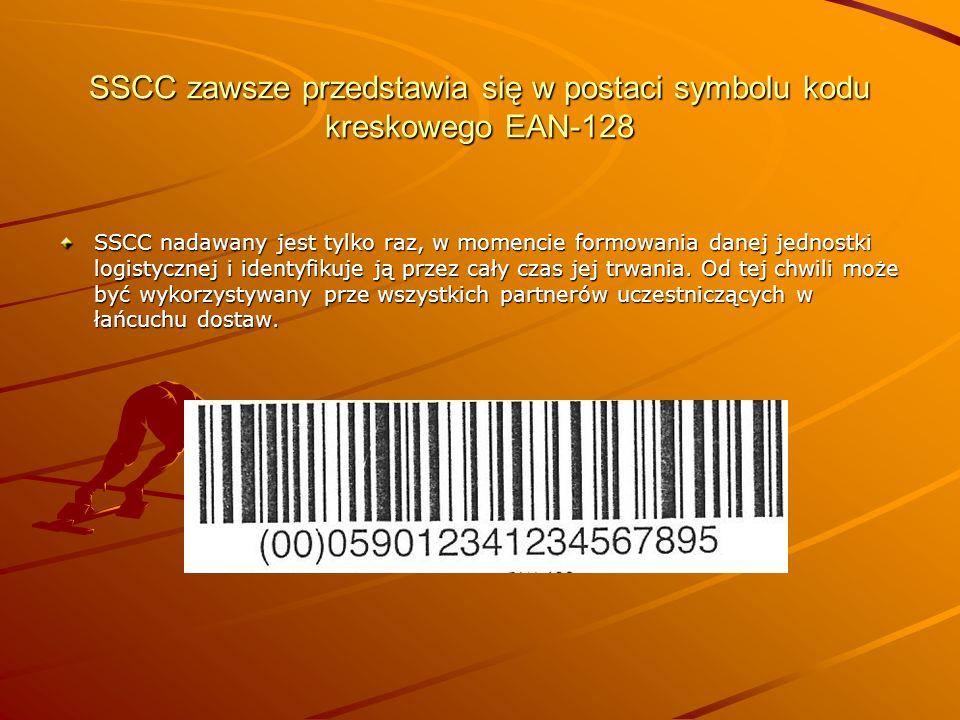 SSCC zawsze przedstawia się w postaci symbolu kodu kreskowego EAN-128