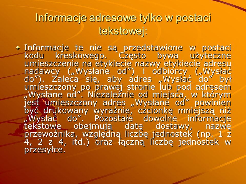 Informacje adresowe tylko w postaci tekstowej: