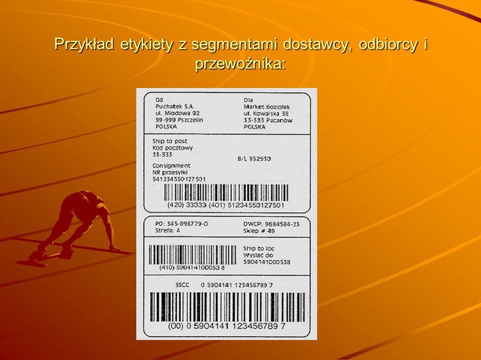 Przykład etykiety z segmentami dostawcy, odbiorcy i przewoźnika: