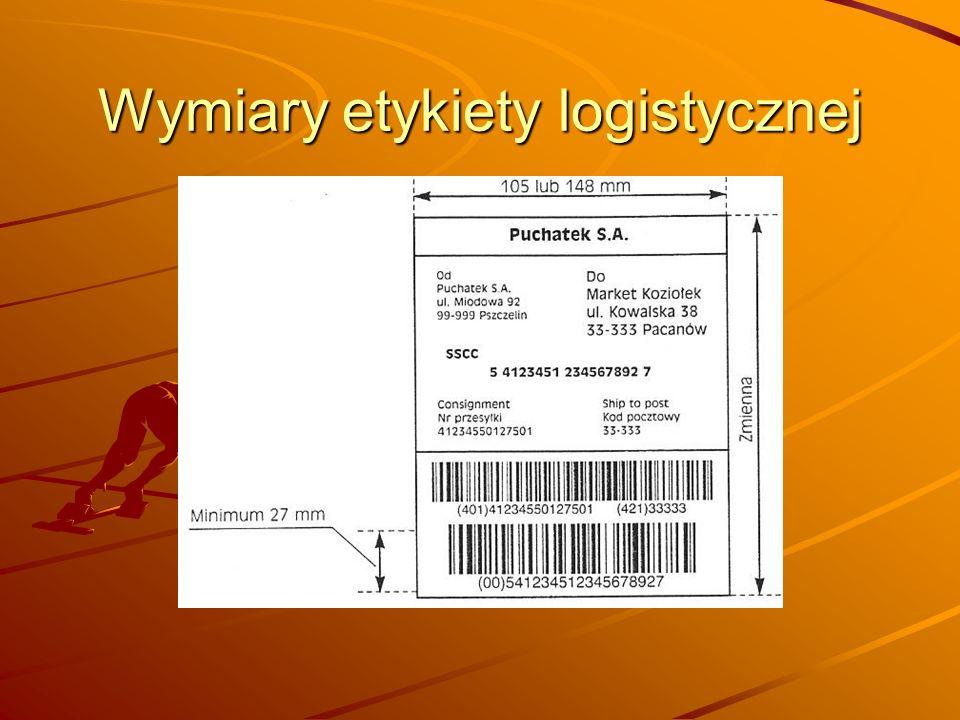 Wymiary etykiety logistycznej