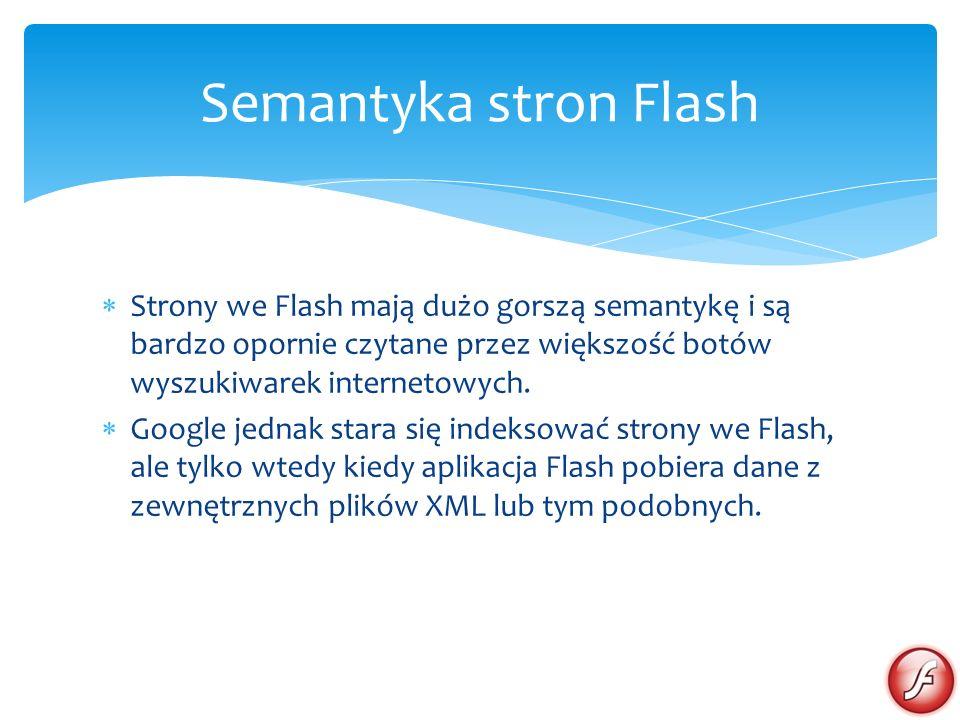 Semantyka stron Flash Strony we Flash mają dużo gorszą semantykę i są bardzo opornie czytane przez większość botów wyszukiwarek internetowych.