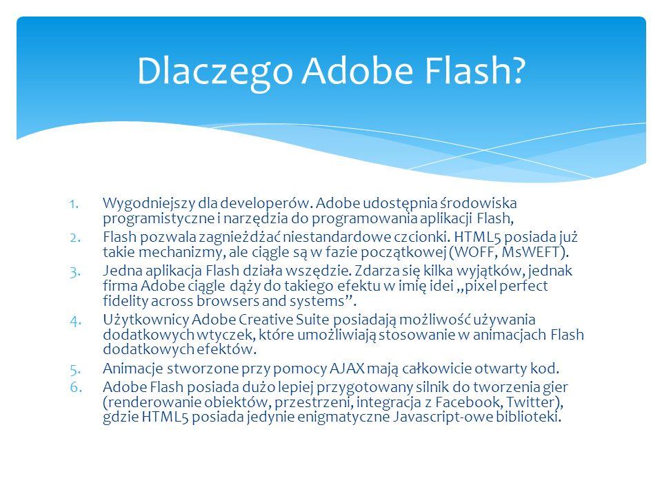 Dlaczego Adobe Flash Wygodniejszy dla developerów. Adobe udostępnia środowiska programistyczne i narzędzia do programowania aplikacji Flash,