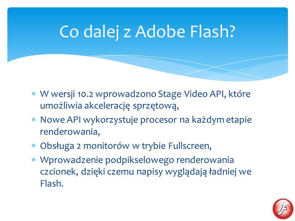 Co dalej z Adobe Flash W wersji 10.2 wprowadzono Stage Video API, które umożliwia akcelerację sprzętową,