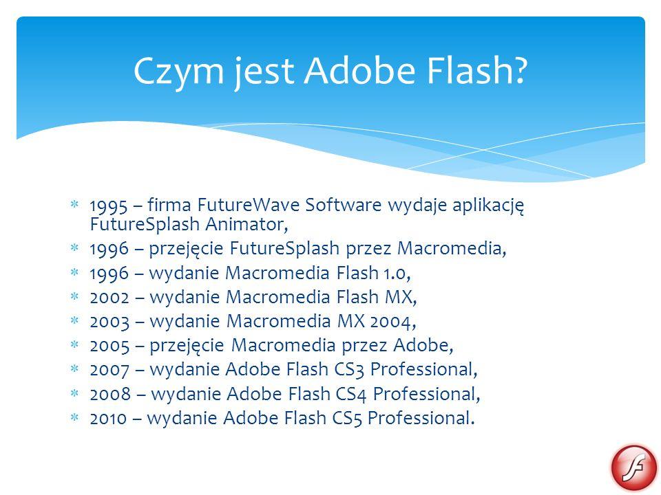 Czym jest Adobe Flash 1995 – firma FutureWave Software wydaje aplikację FutureSplash Animator, 1996 – przejęcie FutureSplash przez Macromedia,