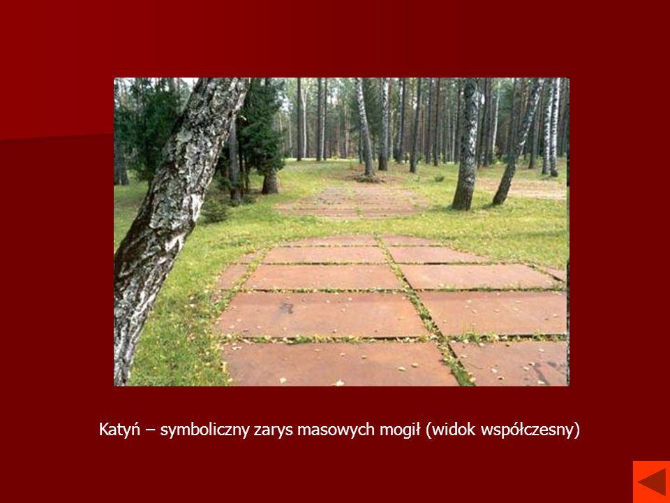 Katyń – symboliczny zarys masowych mogił (widok współczesny)