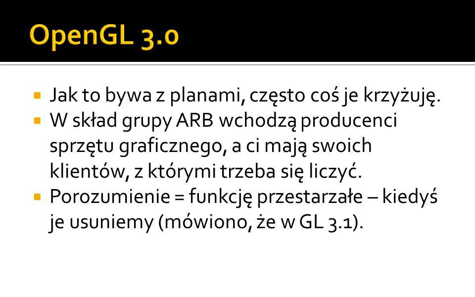 OpenGL 3.0 Jak to bywa z planami, często coś je krzyżuję.