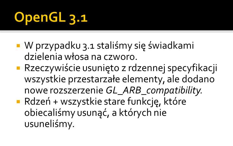 OpenGL 3.1 W przypadku 3.1 staliśmy się świadkami dzielenia włosa na czworo.