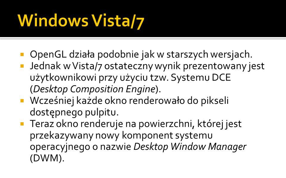 Windows Vista/7 OpenGL działa podobnie jak w starszych wersjach.