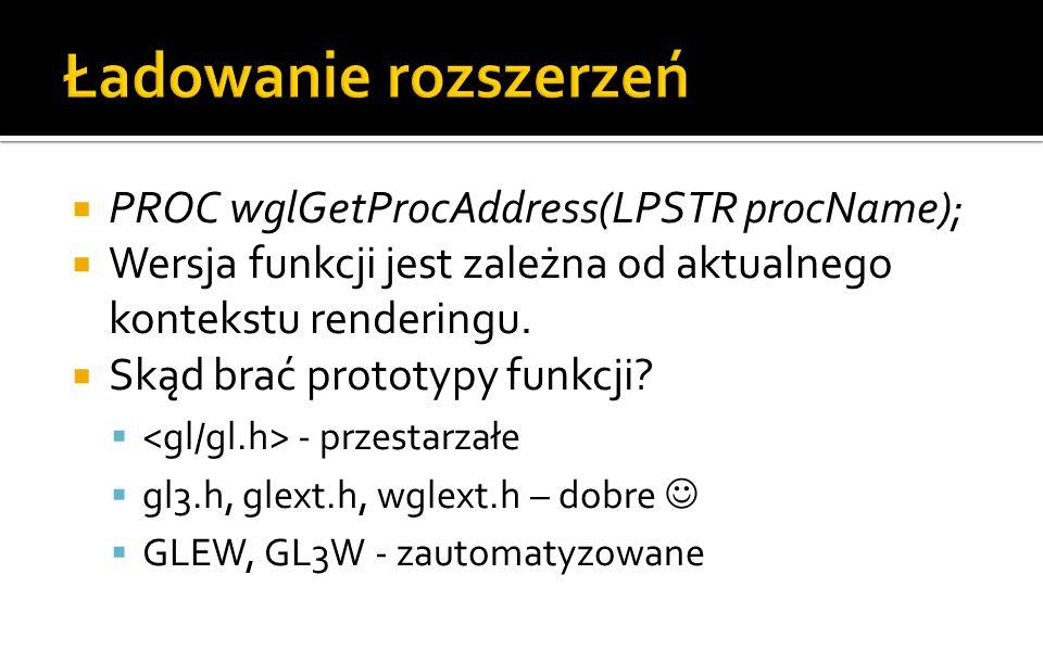 Ładowanie rozszerzeń PROC wglGetProcAddress(LPSTR procName);