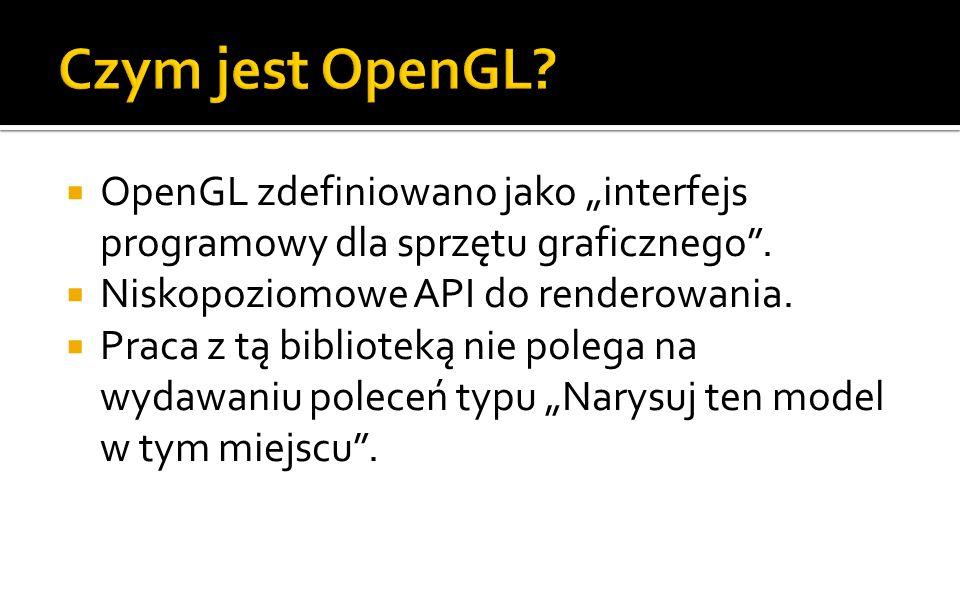 """Czym jest OpenGL OpenGL zdefiniowano jako """"interfejs programowy dla sprzętu graficznego . Niskopoziomowe API do renderowania."""