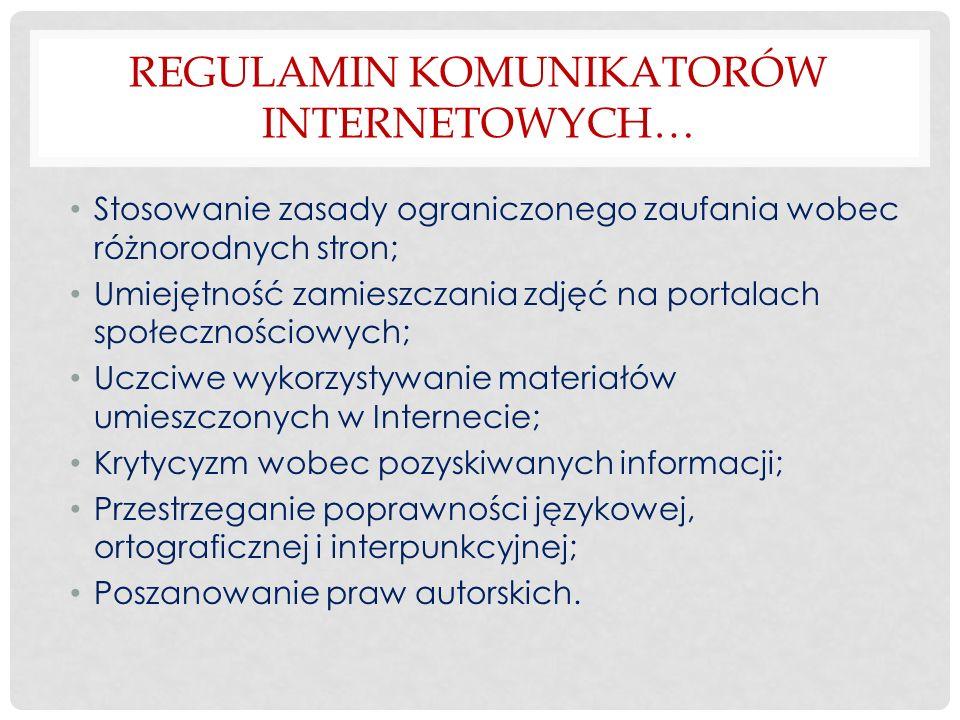 Regulamin komunikatorów internetowych…