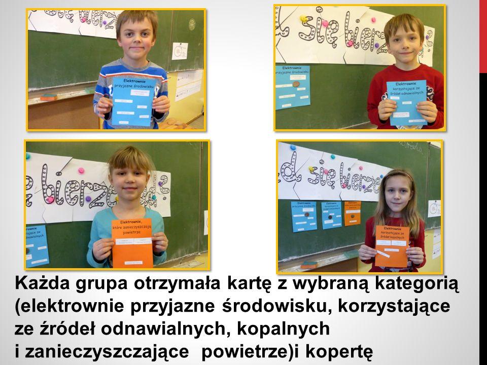 Każda grupa otrzymała kartę z wybraną kategorią (elektrownie przyjazne środowisku, korzystające ze źródeł odnawialnych, kopalnych