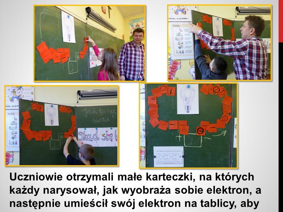 Uczniowie otrzymali małe karteczki, na których każdy narysował, jak wyobraża sobie elektron, a następnie umieścił swój elektron na tablicy, aby zobrazować przepływ prądu od baterii do żarówki.