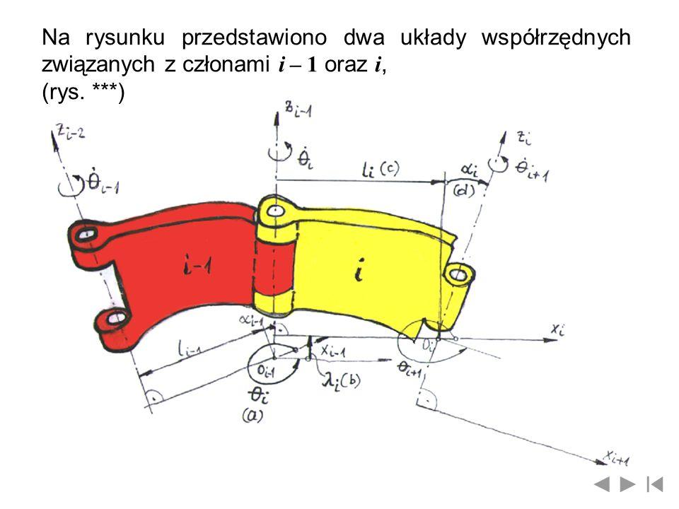 Na rysunku przedstawiono dwa układy współrzędnych związanych z członami i – 1 oraz i,