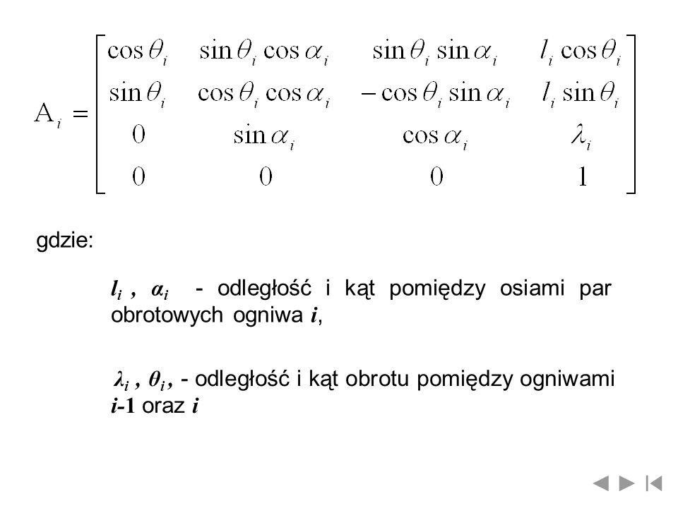 gdzie: li , αi - odległość i kąt pomiędzy osiami par obrotowych ogniwa i, λi , θi , - odległość i kąt obrotu pomiędzy ogniwami i-1 oraz i.