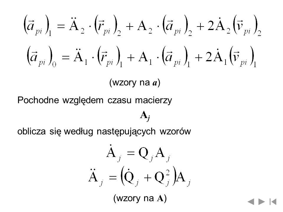 Aj (wzory na a) Pochodne względem czasu macierzy