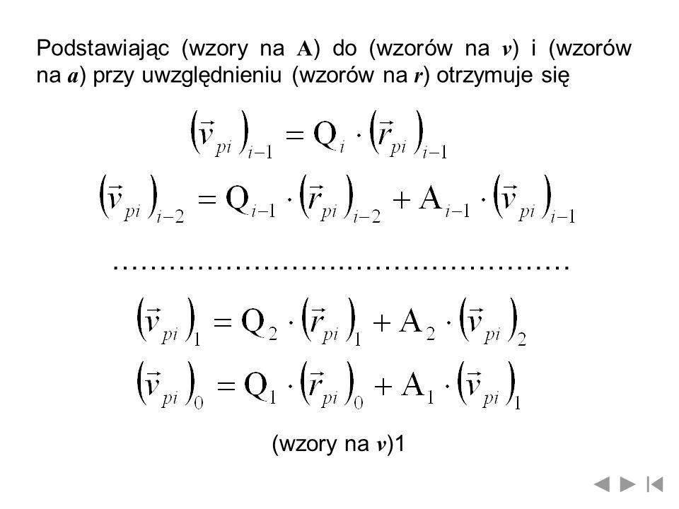 Podstawiając (wzory na A) do (wzorów na v) i (wzorów na a) przy uwzględnieniu (wzorów na r) otrzymuje się