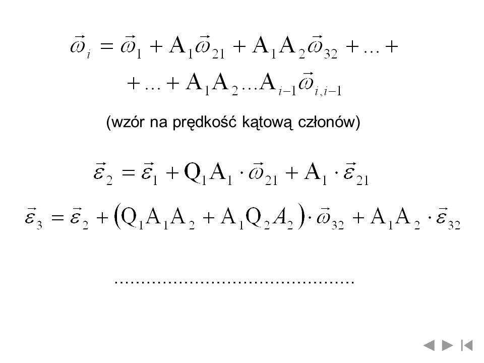 (wzór na prędkość kątową członów)