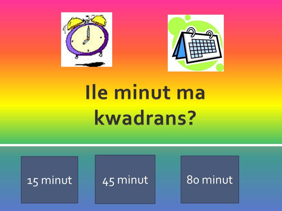 Ile minut ma kwadrans 15 minut 45 minut 80 minut