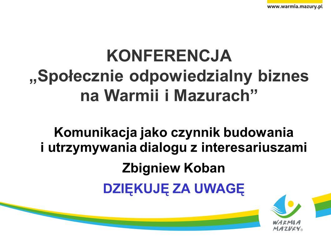 """KONFERENCJA """"Społecznie odpowiedzialny biznes na Warmii i Mazurach"""