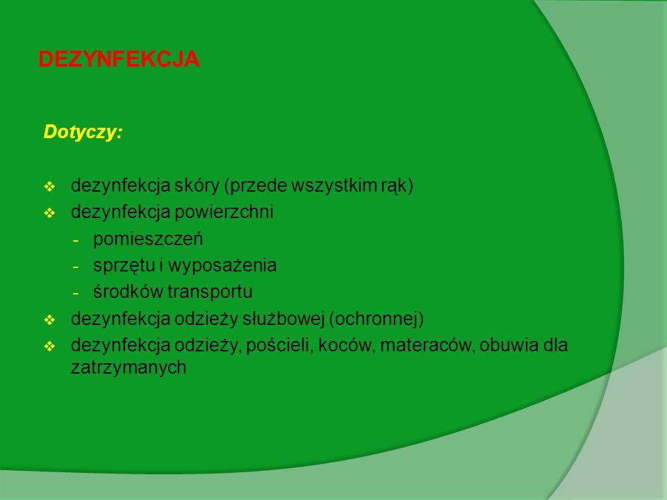 DEZYNFEKCJA Dotyczy: dezynfekcja skóry (przede wszystkim rąk)